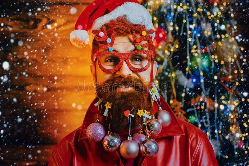 Trendy, shopping sale and discounts. Merry christmas and happy new year. New year - fun party with funny Santa. stock photo