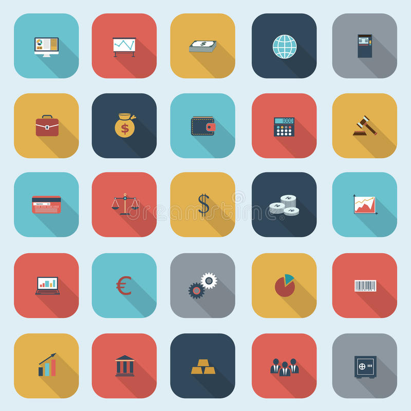 Trendy simple finance icons set in flat design with long shadows. For web, mobile applications, social networks etc. Vector eps10 illustration royalty free illustration