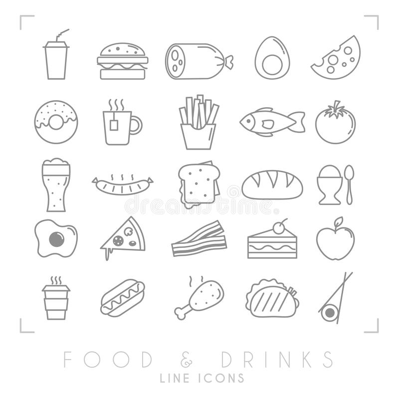 Trendy simple thin line food icons big set. Fast food and breakfast, national and healthy food symbols. EPS10 + JPEG preview royalty free illustration