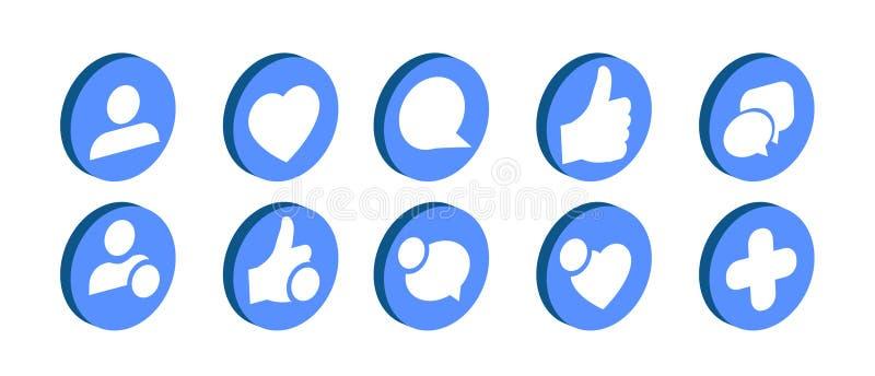 Trendy social network icons set Vector illustration. stock illustration