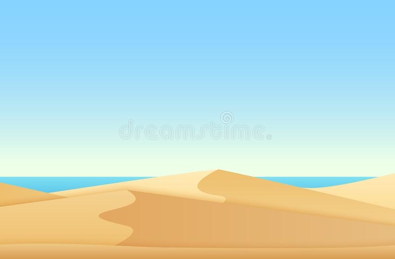 Trendy soft flat gradient color style landscape with desert and ocean sea beach vector illustration. stock illustration
