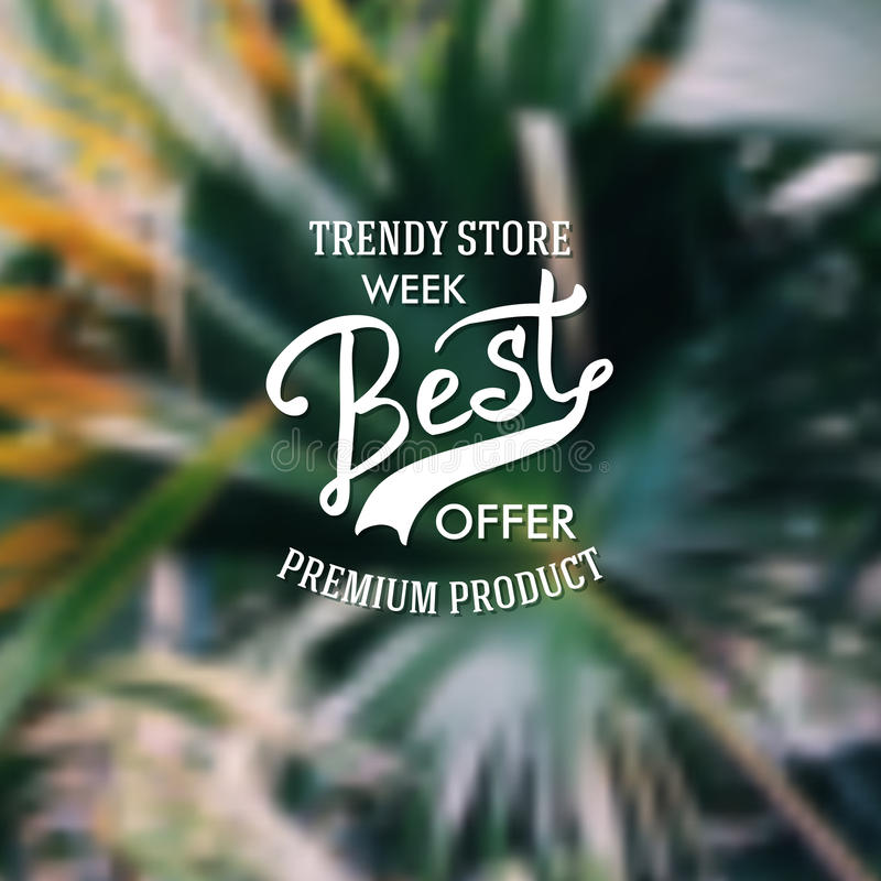 Trendy Store advertising poster. Trendy Store marketing poster offering premium product merchandise with flowing text over an abstract green background, vector royalty free illustration