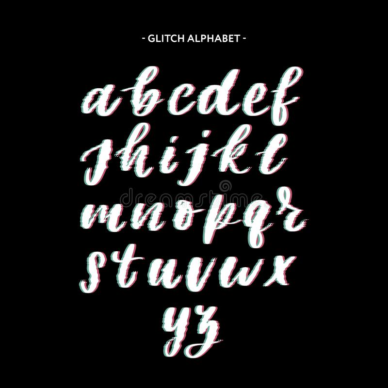 Trendy style distorted glitch typeface. Letters and numbers, vector stock illustration