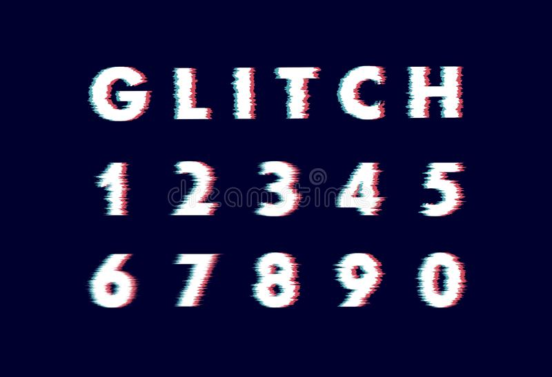 Trendy style distorted glitch typeface. Letters and numbers vector illustration alphabet vector illustration