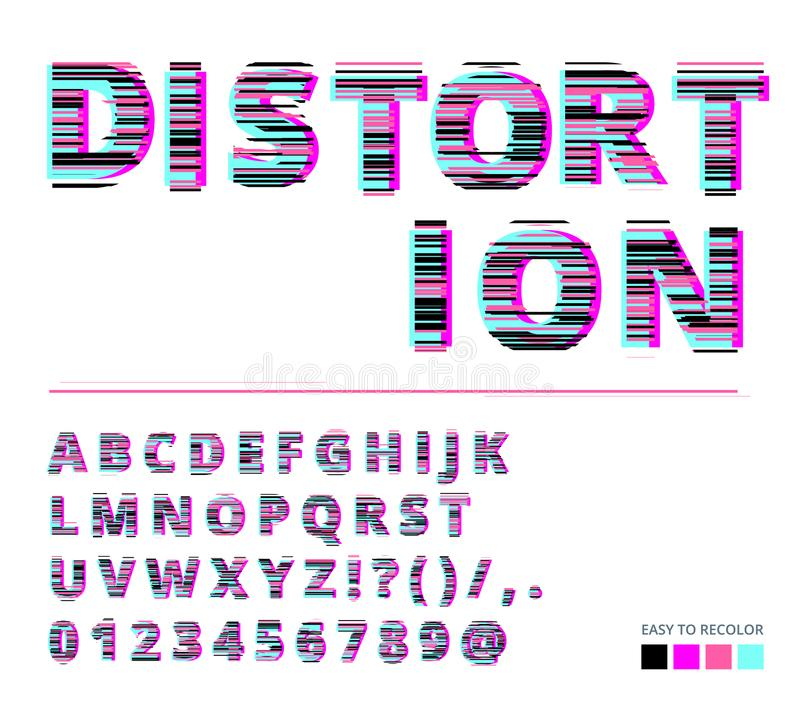 Trendy style distorted glitch typeface. Letters and numbers vector illustration. Glitch font design. stock illustration