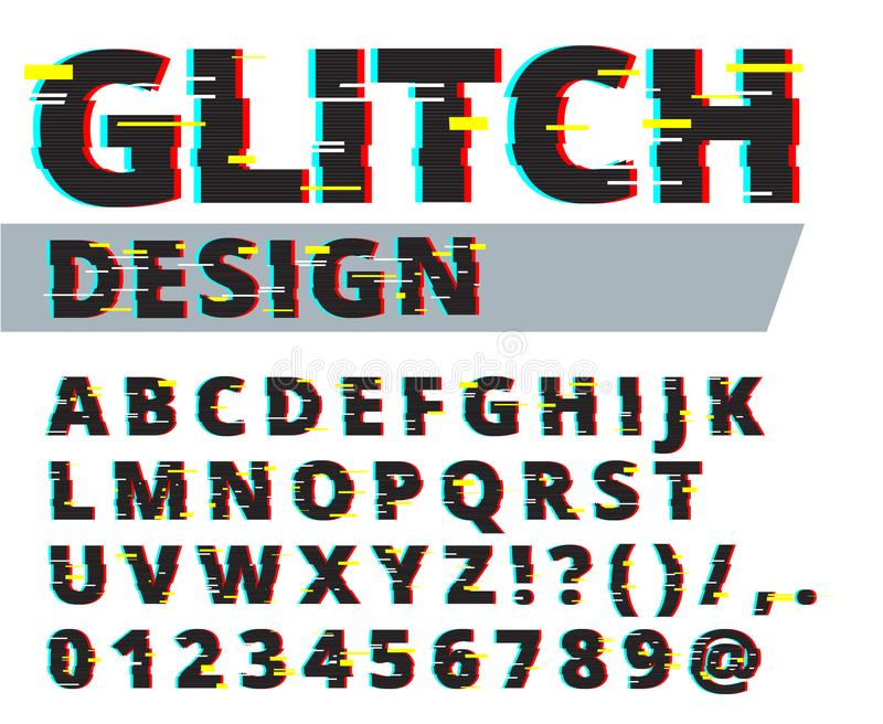 Trendy style distorted glitch typeface. Letters and numbers vector illustration. Glitch font design. royalty free illustration