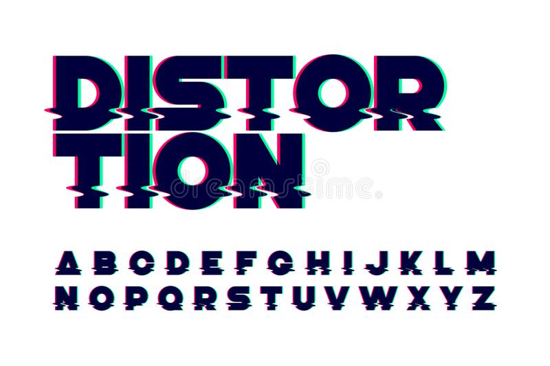 Trendy style distorted glitch font. Trendy style distorted glitch typeface vector illustration