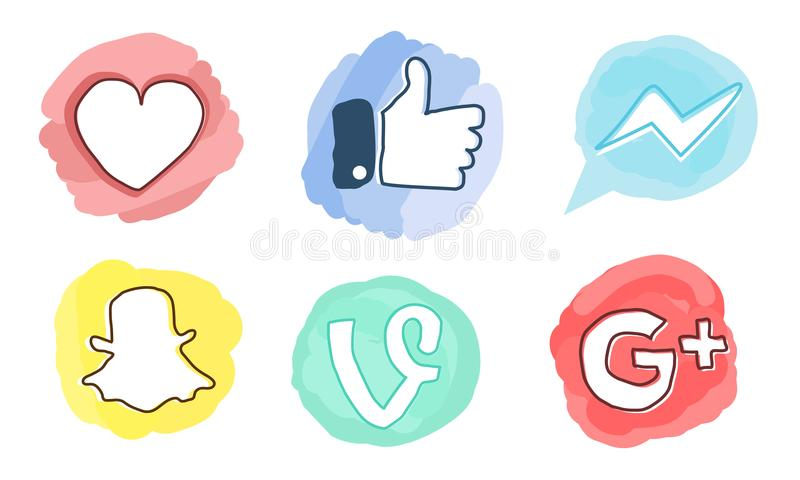 Set of social media icons: Facebook, Google Plus, Vine, Messenger, Snapchat, Like red heart. royalty free stock photography