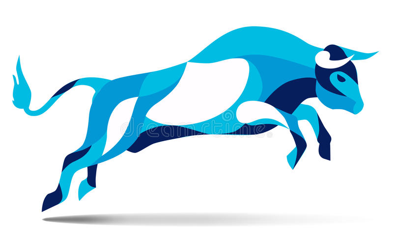Trendy stylized illustration movement, bull jumping, line vector silhouette of wild , stock illustration