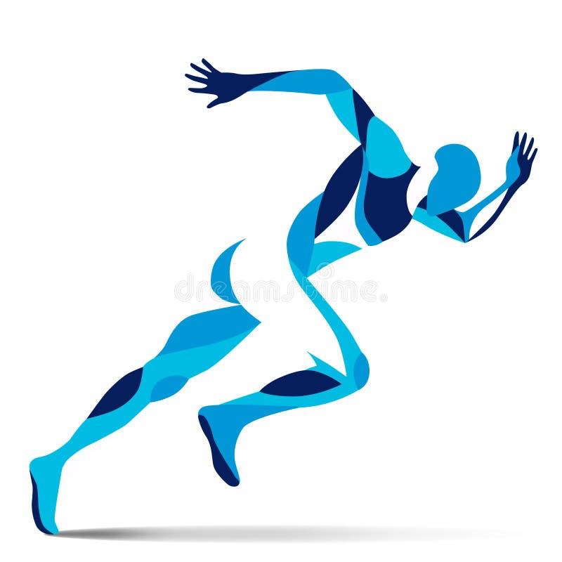 Trendy stylized illustration movement, running man, line vector silhouette of. Running man vector illustration