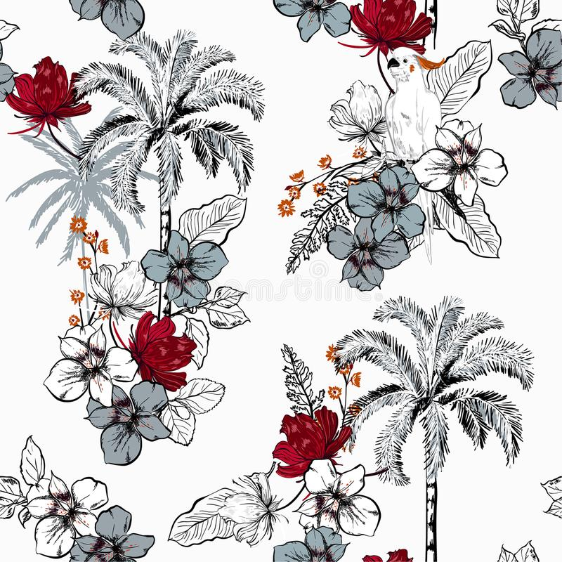 Trendy summer palm trees on the white forest blooming with exotic flowers and macaw bird background. Vector seamless pattern. stock illustration