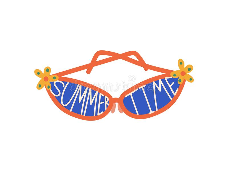 Trendy Sunglasses with Blue Lenses and Summer Time Inscription, Beach Accessory, Summer Travel Symbol Vector stock illustration
