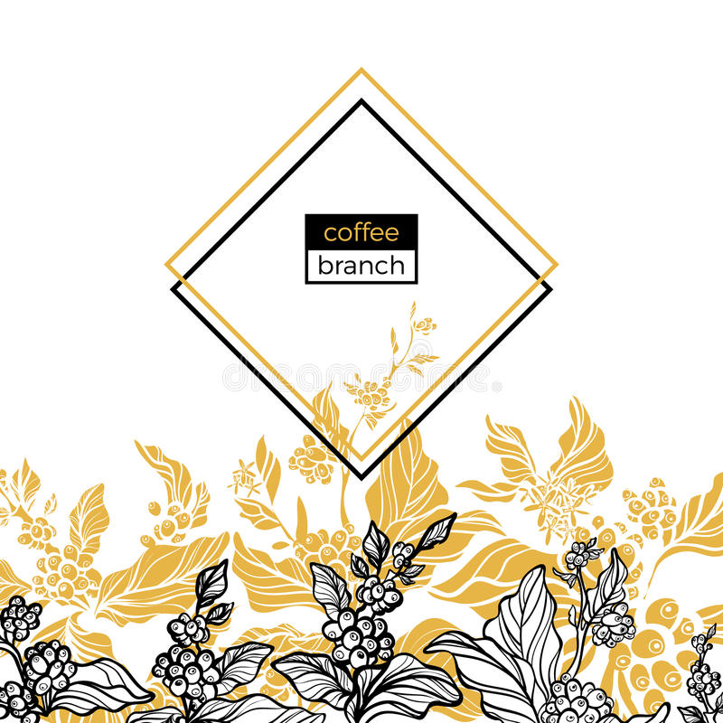 Trendy template. Coffee branches with leaves, flowers and natural coffee beans. Vector vector illustration