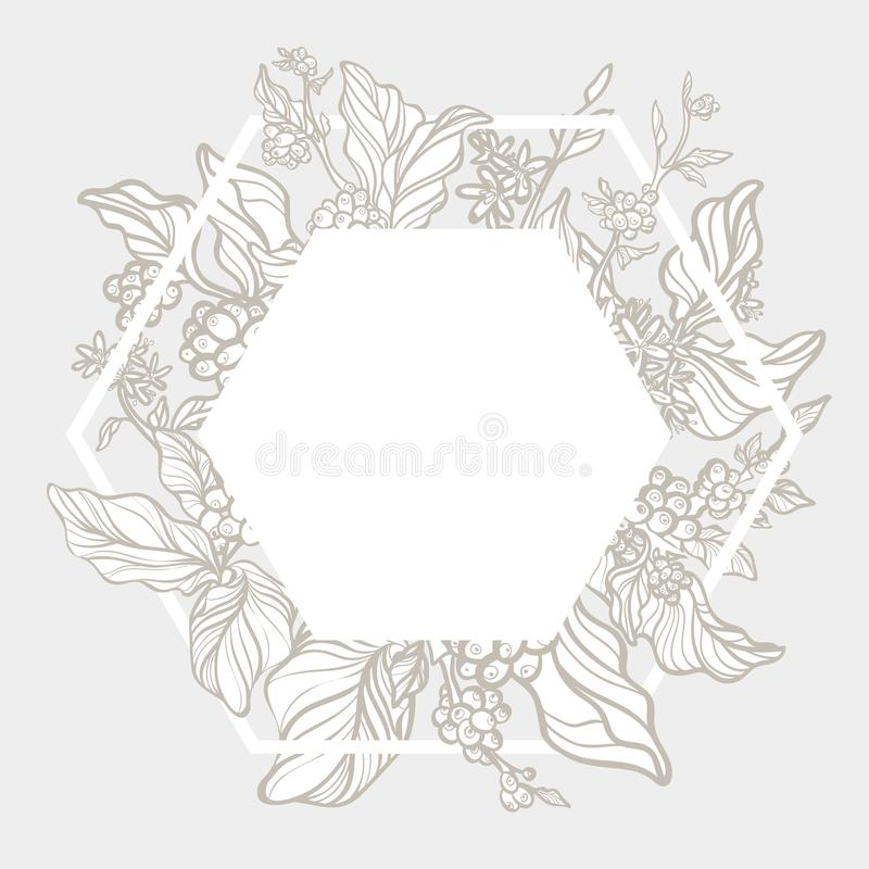 Trendy template. Organic. Coffee branches with leaves, flowers and natural coffee beans. Silhouette. Vector stock illustration