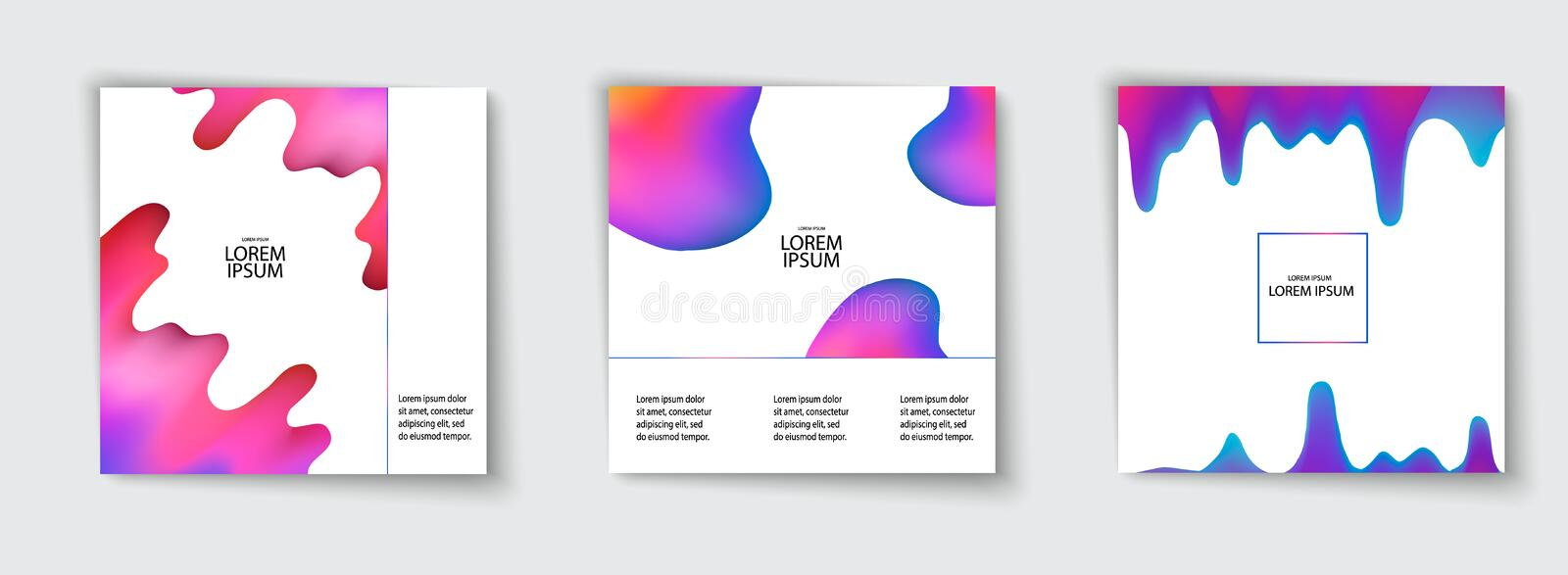 Trendy template set with futuristic modern neon shapes for poster, cover, card, broshure, banner. vector illustration