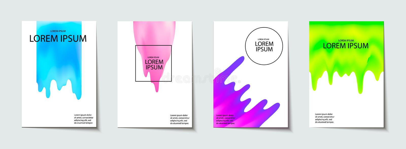 Trendy template set with futuristic modern neon shapes for poster, cover, card, broshure, banner. stock illustration