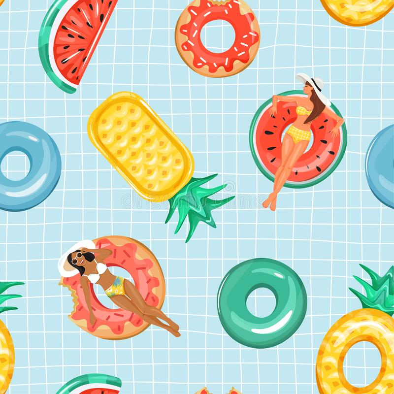 Free Trendy Texture For Textile. Seamless Pattern With Inflatable Swimming Pool Rings In The Shape Of Pineapple, Watermelon, And Donut. Royalty Free Stock Photos - 159065338