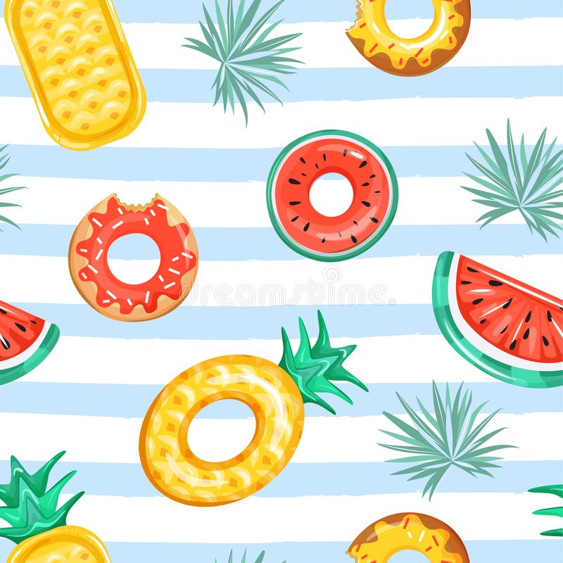 Trendy texture for textile. Seamless pattern with inflatable swimming pool rings in the shape of pineapple, watermelon, and donut. Seamless pattern with various vector illustration