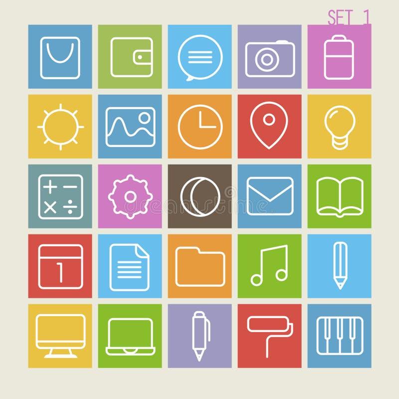 25 Trendy Thin Icons Set 1