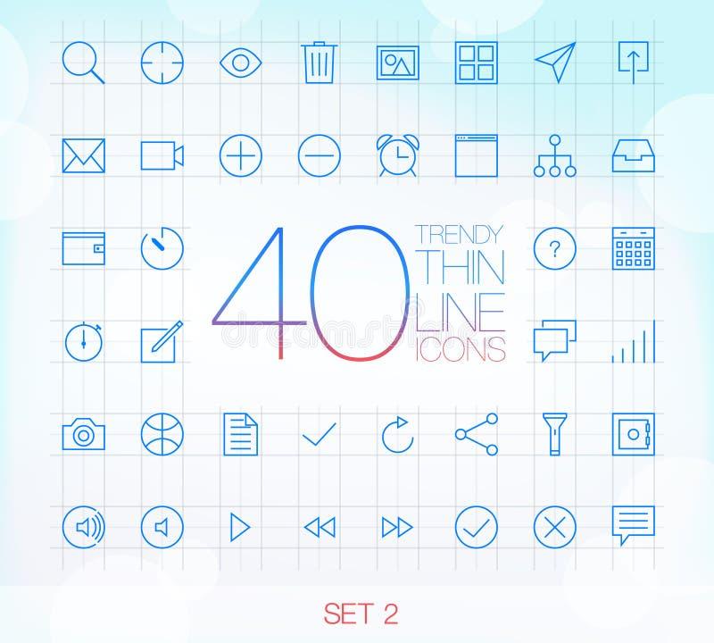 40 Trendy Thin Icons Set 2