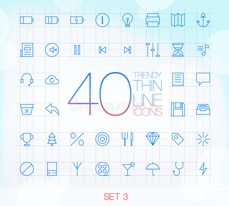Download 40 Trendy Thin Icons Set 3 Royalty Free Stock Image - Image: 34349136