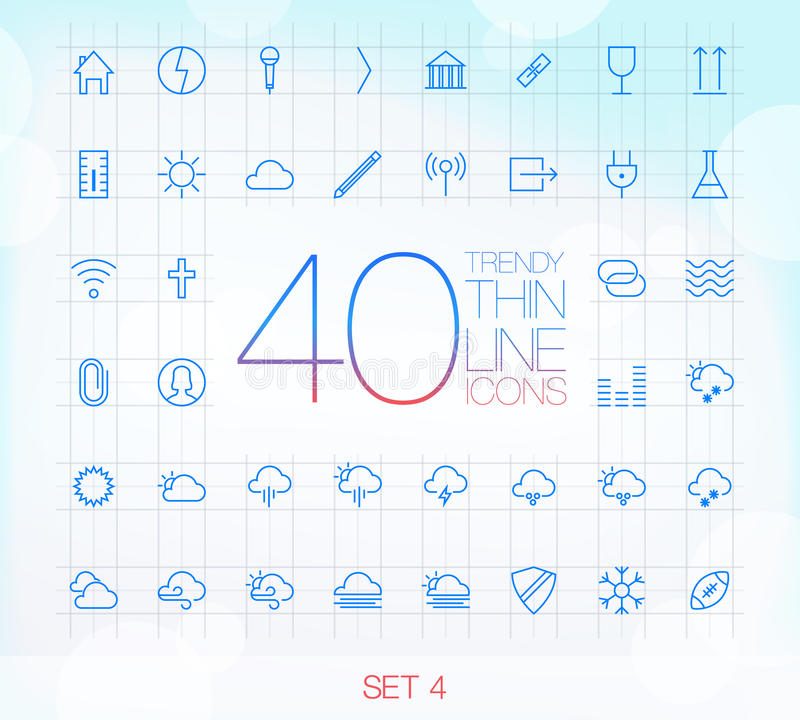 40 Trendy Thin Icons Set 4. 40 Trendy Thin Icons for web and mobile Set 4 stock illustration