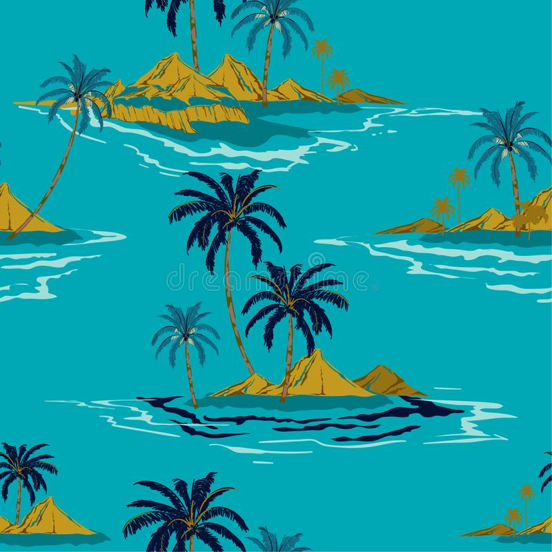 Trendy Tropical island hand drawing style Summer Seamless pattern vector illustration Colorful Summer design for fashion ,fabric,. Wallpaper,web and all prints vector illustration