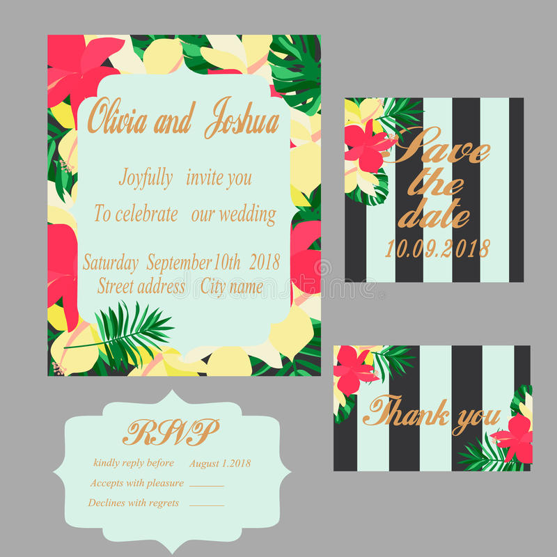 Trendy tropical jungle style vector wedding print set stock vector trendy tropical jungle style vector wedding print set invitation cards menu and envelope vector templates with exotic green blue pink plants with stopboris Images