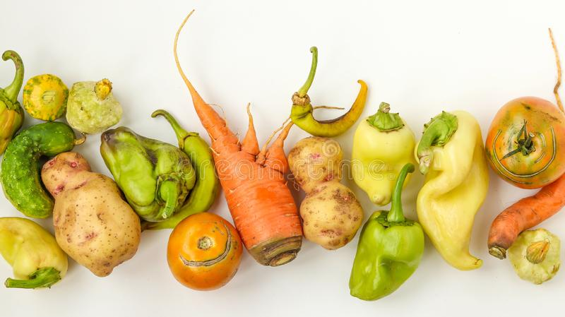Trendy Ugly Vegetables: potatoes, carrots, cucumber, peppers and tomatoes on white background, ugly food concept stock images
