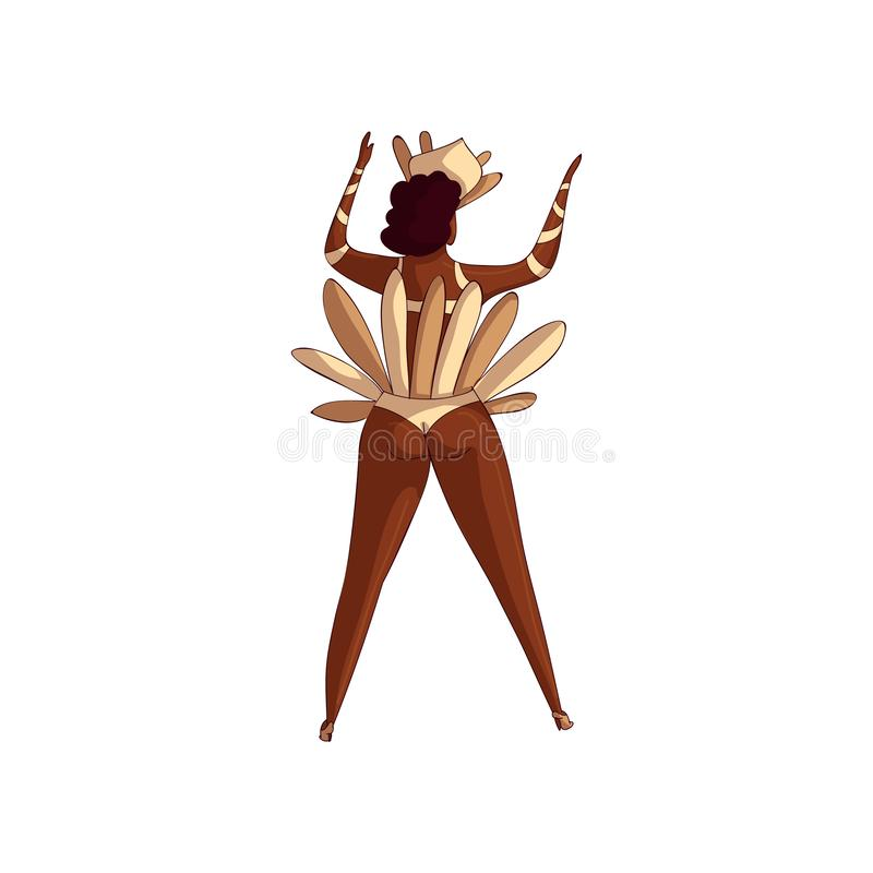 Trendy vector design of Brazilian samba dancer, back view. Latino woman in dancing action. Girl in bikini with feathers vector illustration
