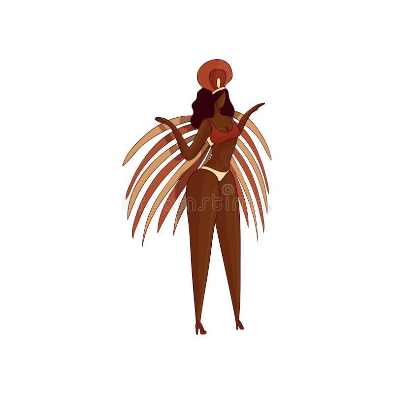 Trendy vector design of Brazilian woman in dancing action. Girl in bikini with feathers. Samba dancer vector illustration