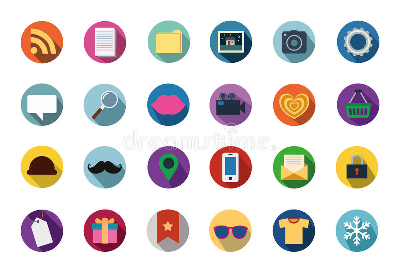 Trendy Vector Flat Icons With Long Shadow vector illustration