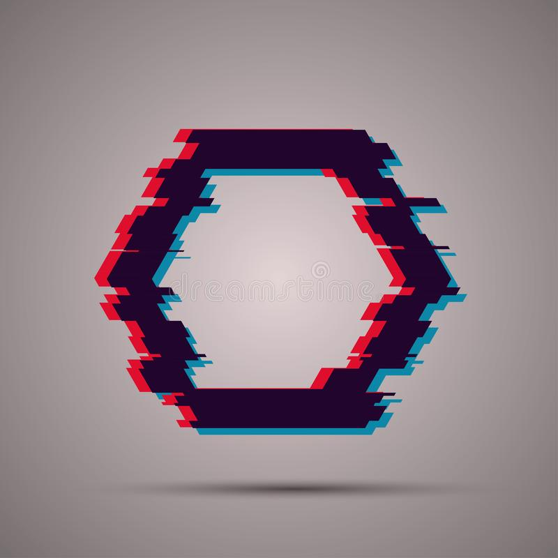 Image with glitch effect. Trendy vector with glitch effect. Modern hexagon image vector illustration