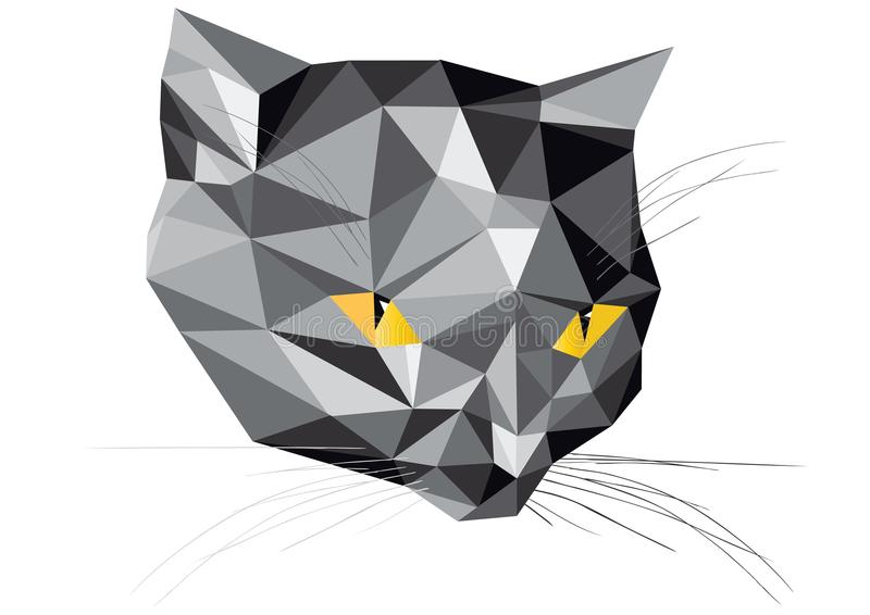 Trendy vector illustration of low polygons cat head. Color vector illustration of cat head of low polygons. Bright vector triangles cat isolated on white royalty free illustration