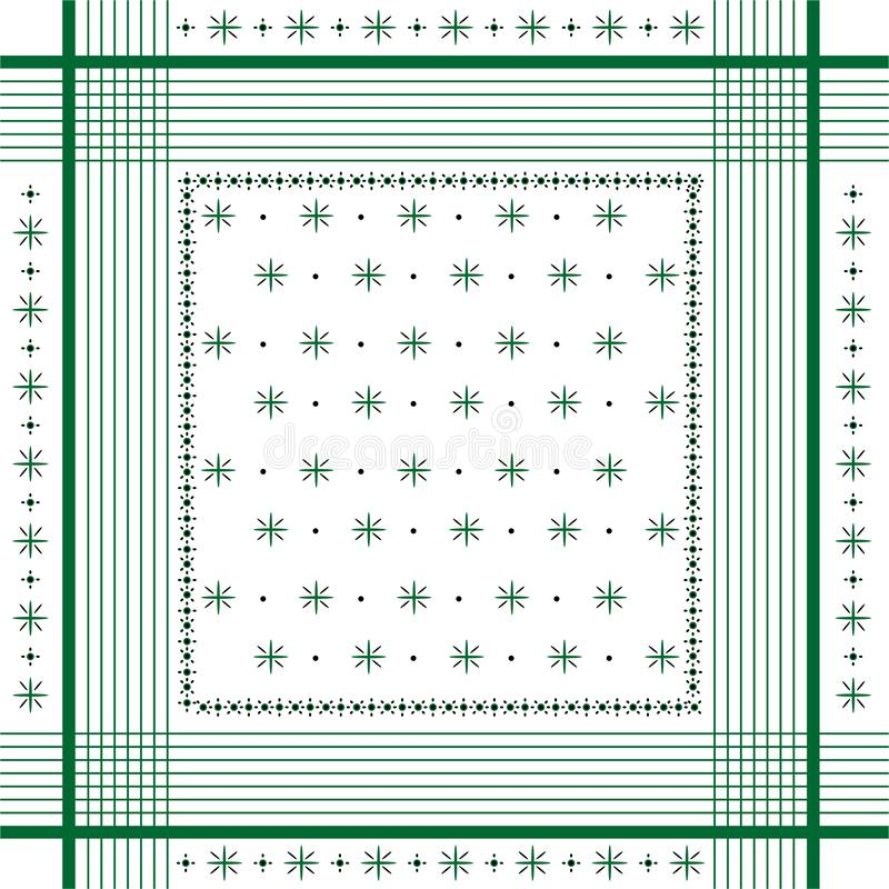 Trendy Vector ornament minimal Bandana Print, silk neck scarf or kerchief square pattern design style for fashion ,fabric and all stock illustration