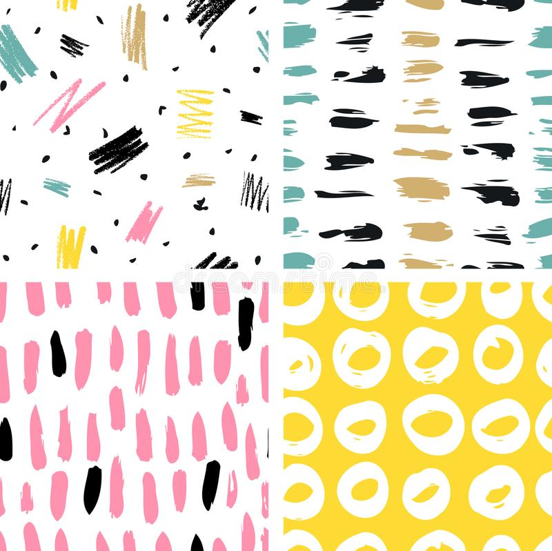 Trendy vector seamless colorful pattern with brush strokes. Vector illustration vector illustration