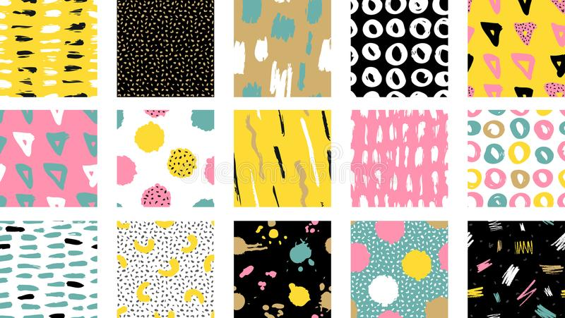 Trendy vector seamless colorful pattern with brush strokes.Vector illustration vector illustration