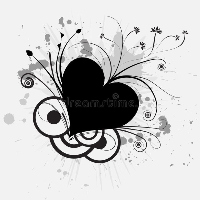 Trendy vectorgrungehart royalty-vrije illustratie
