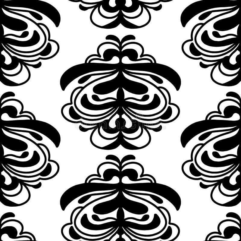 Trendy Vetor Damask padrão contínuo de repetição preto e branco neutro ilustração royalty free