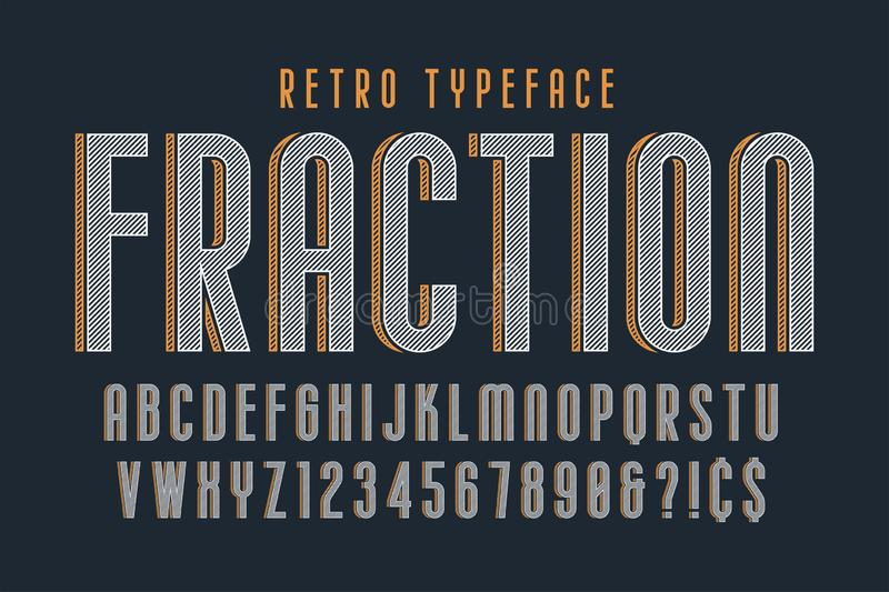 Trendy vintage display font design, alphabet, typeface. Letters and numbers, typography. Swatch color control vector illustration