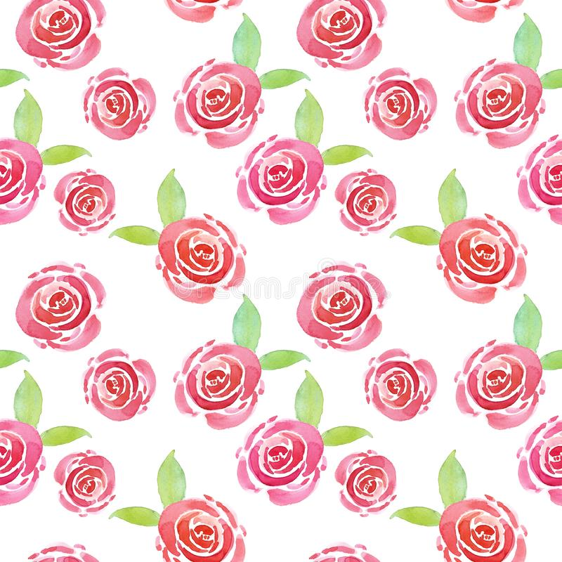 Trendy Watercolor cute floral pattern with pink roses on white background. Beautiful botanical print stock illustration