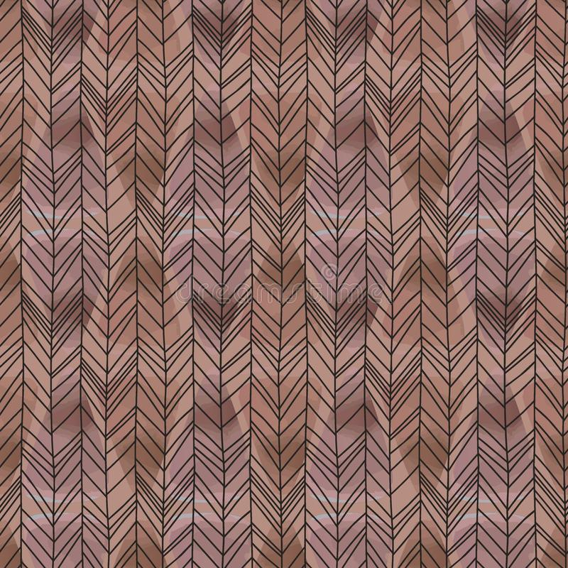 Trendy watercolor pattern with seamless herringbone chevron hand drawn. Natural drawing vector for fashion trendy and wrapping tex. Tile print royalty free illustration