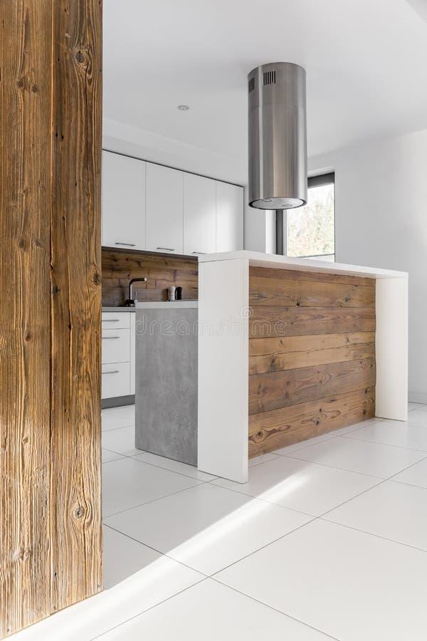 Trendy white kitchen stock image