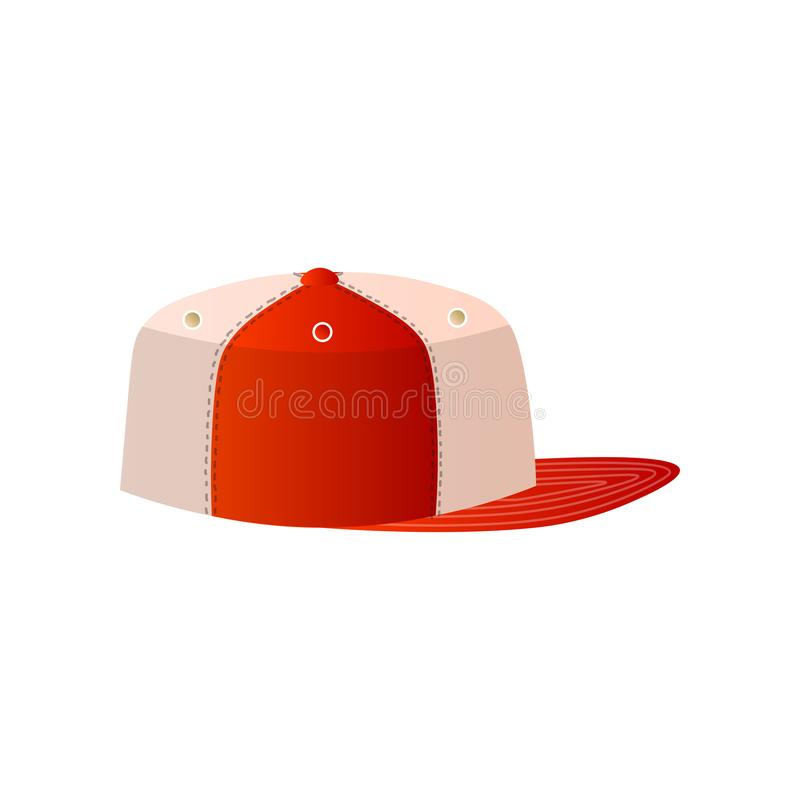 Trendy white and red baseball cap close up side view stock illustration