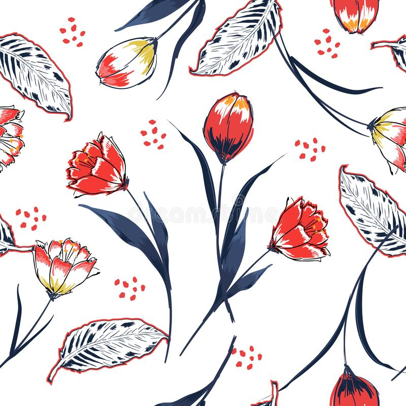 Trendy Wild flower tulip flower seamless pattern in a hand drawing style. Trendy tulip flower seamless pattern in a hand drawing style. Aquarelle florals on royalty free illustration