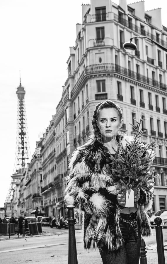 Trendy woman with Christmas tree in Paris, France looking aside. Boiling hot trendy winter in Paris. Portrait of trendy woman with Christmas tree in Paris stock images