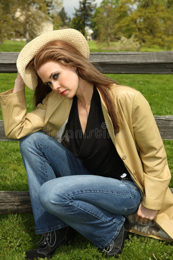 Download Trendy Woman In Countryside Stock Image - Image: 5296617