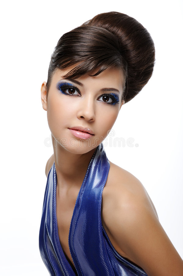 Trendy woman with creative hairstyle royalty free stock images