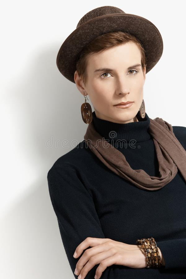 Download Trendy woman in hat stock image. Image of american, background - 22049519