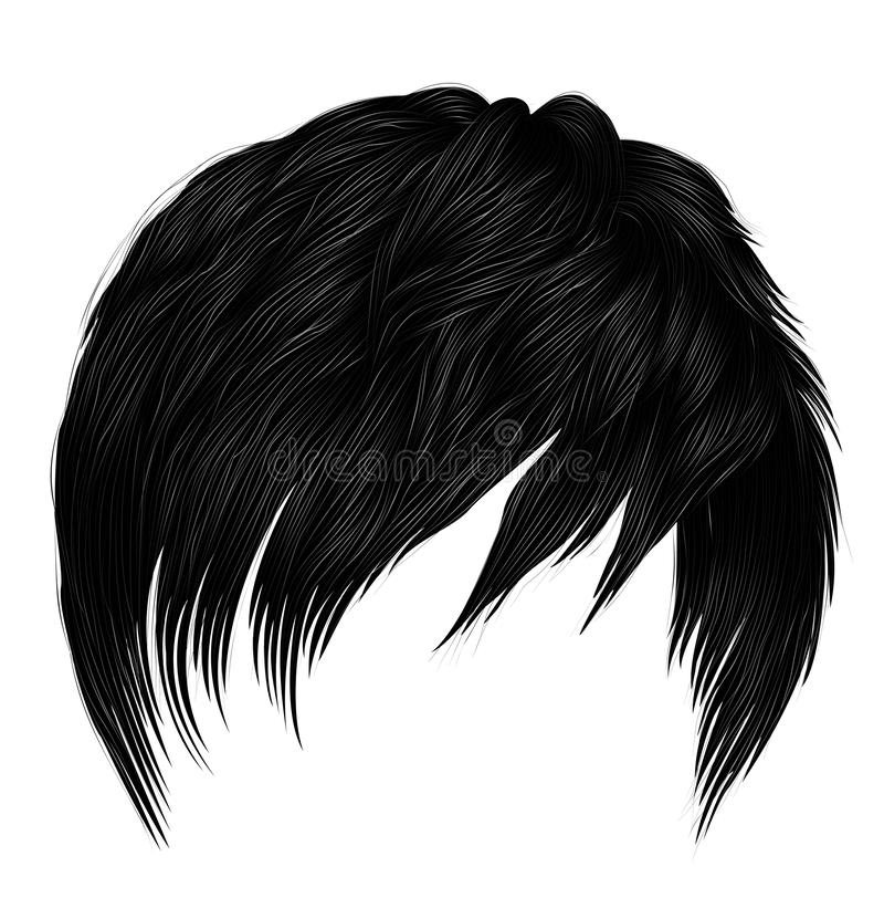 Trendy woman man short  hairs brunette black colors .fashion beauty style . realistic  3d royalty free illustration